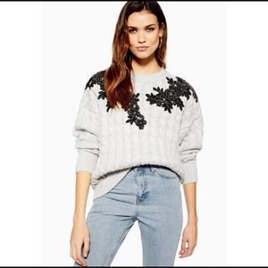 TOPSHOP Appliqué Cable Knit Sweater Gray 6